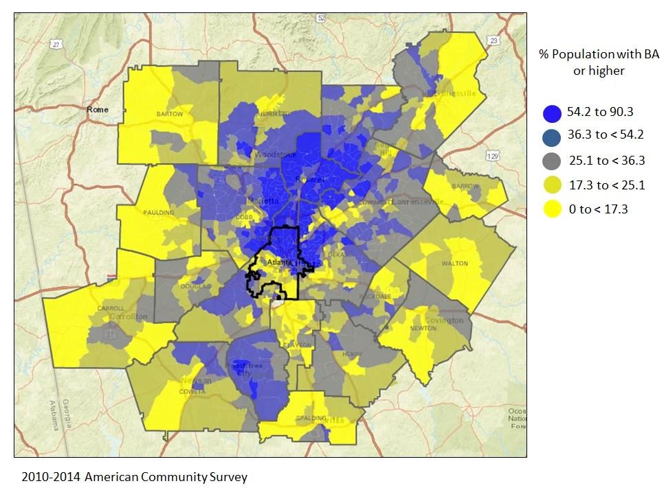 Atlanta Population Map Monday Mapday: Metro Atlanta population with a Bachelor's degree