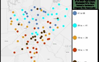 map of atlanta area schools, graduate progress after five years