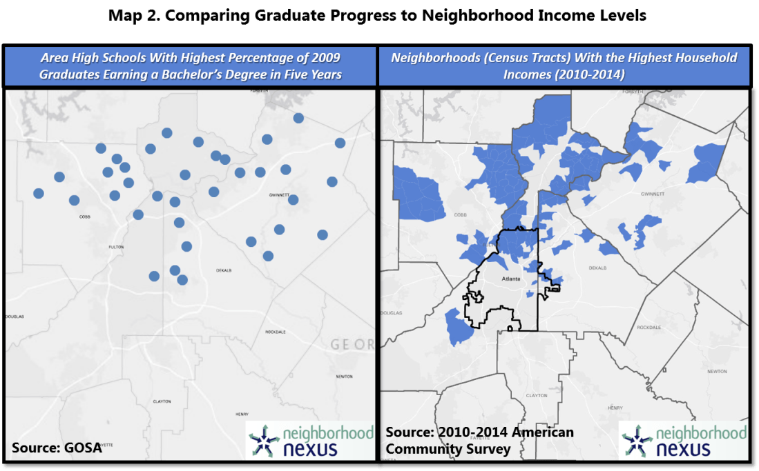 atlanta area maps showing correlation between graduate outcomes and neighborhood income levels