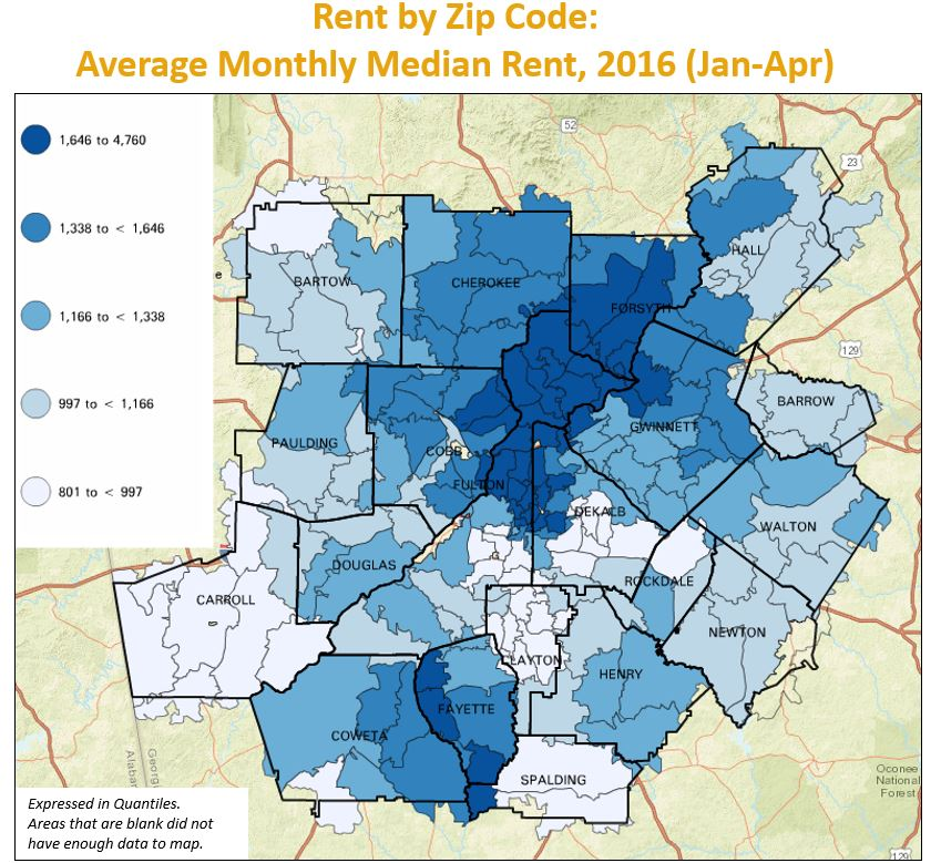 Zip Code Map Atlanta Monday Mapday: Rent by Zip Code   33n