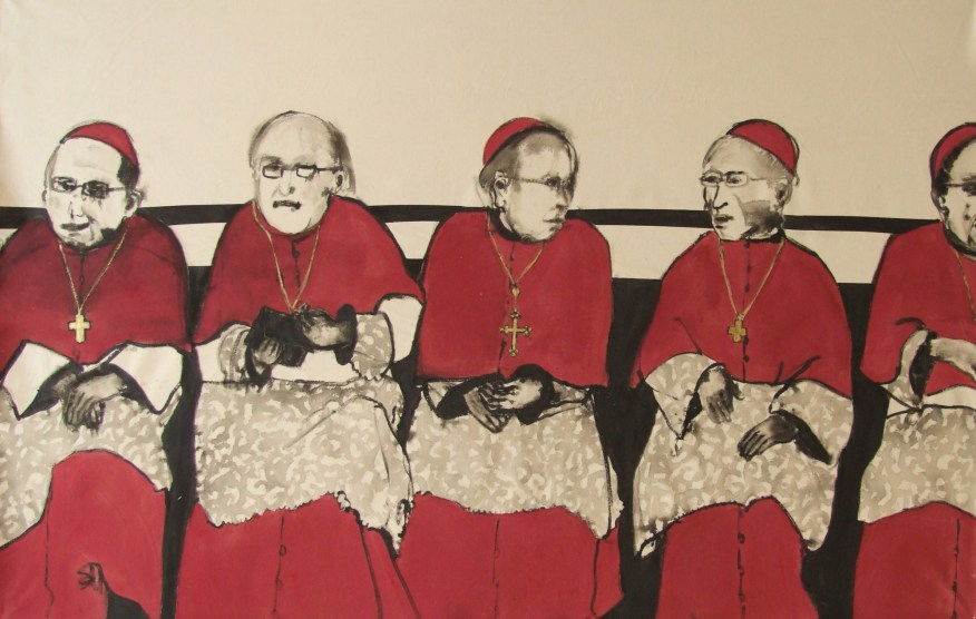 Men dressed in red, ink and acrylic on canvas, 170 cm x 115 cm x 2 cm