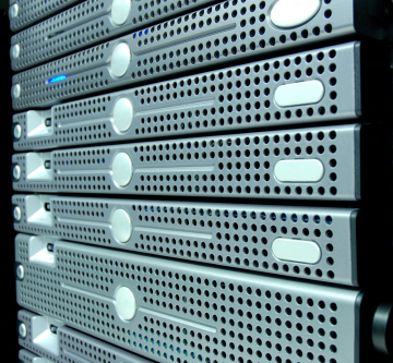 Servers stacked in a data center cabinet - Air-IT server installations