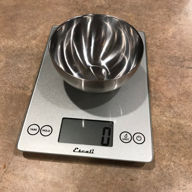 Homemade protein shake recovery mix (kitchen scale)