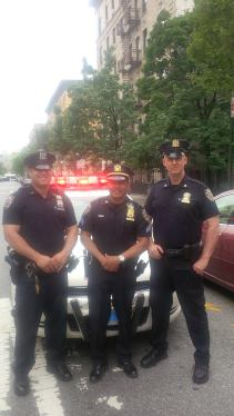 Officer Edwin Rodriguez and Detective Tom Troppman, with Sgt. Juan Hernandez in the middle. (Photo courtesy of NYPD.)