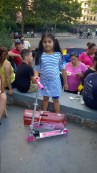 Scooters donated by Target on W 225th Street were a hit with kids who won them at the National Night Out.