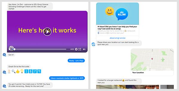 KLM and GE chatbot screenshots