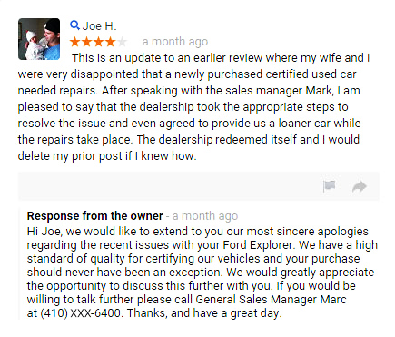 example of a business responding to an online review