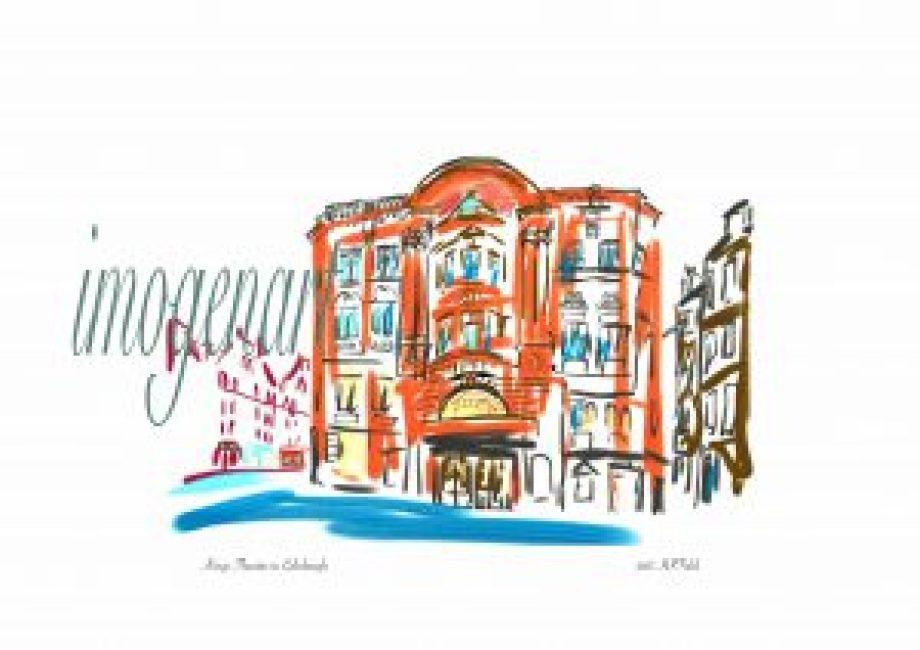 Print of iPad sketch of Kings Theatre Edinburgh