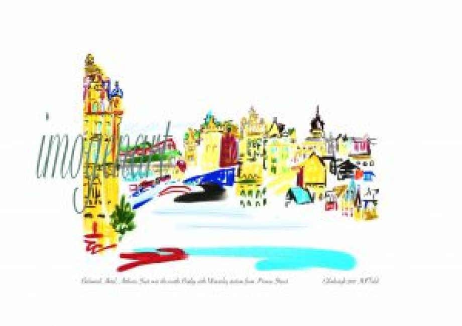 Print of iPad sketch of Balmoral Hotel, Arthurs Seat, North bridge and the Scotsman building over Waverley station