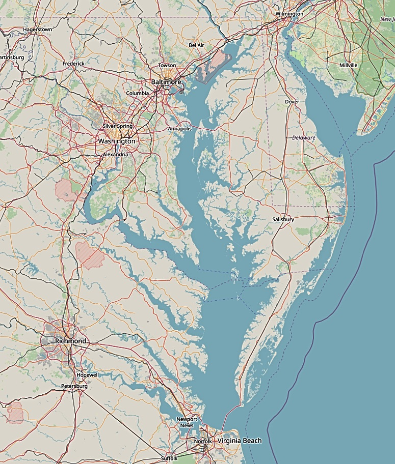 Map showing Washington DC and Annapolis MD in relation to Chesapeake Bay