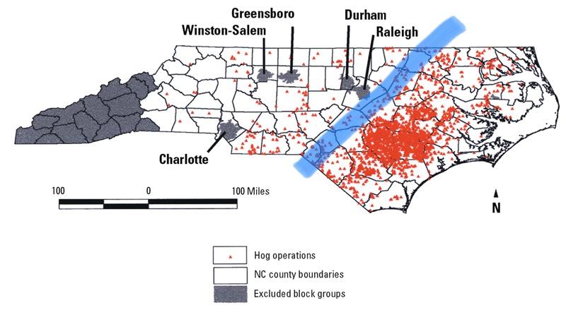 Map of North Carolina showing distribution of hog farms on coastal plain