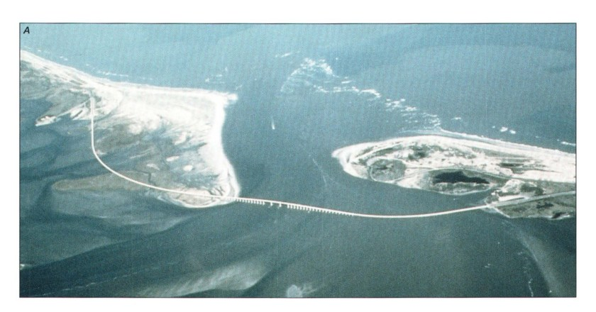 Aerial photo ofOregon Inlet and old H.Bonner Bridge, Outer Banks NC
