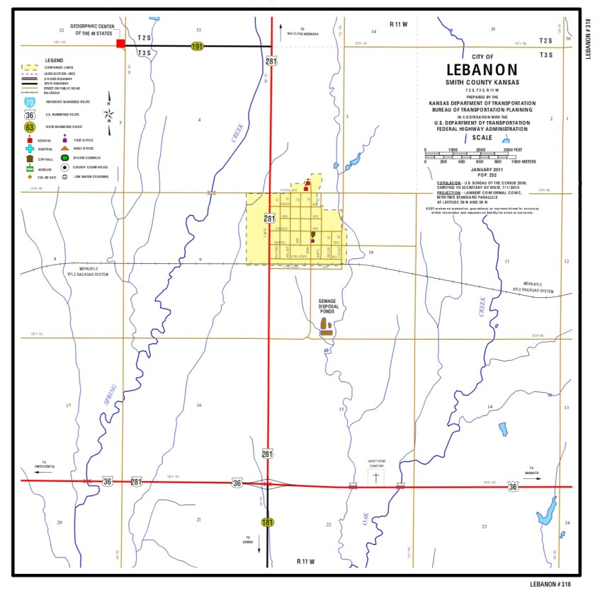 Map of Lebanon, Kansas and vicinity