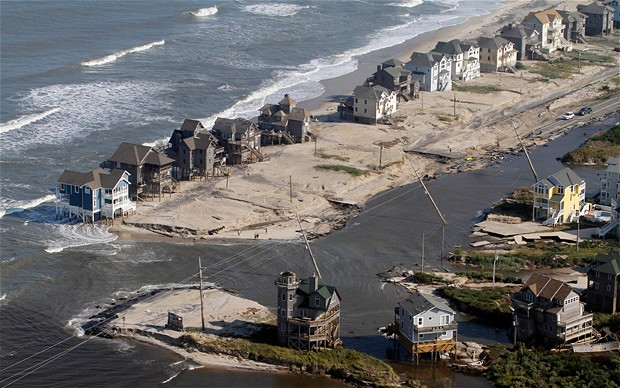 Beach houses on Hatteras Island, August 2011 after Hurricane Irene