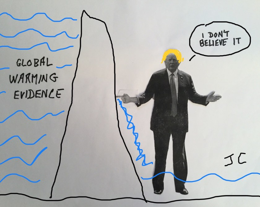 Cartoon. Trump with his finger in the climate dike