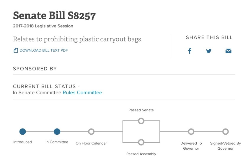 Image from NY State Senate website showing status of bill S8258