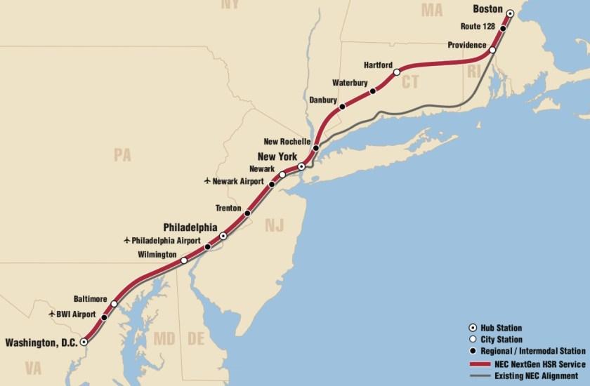 Map of Northeast Corridor, high-speed rail alignment