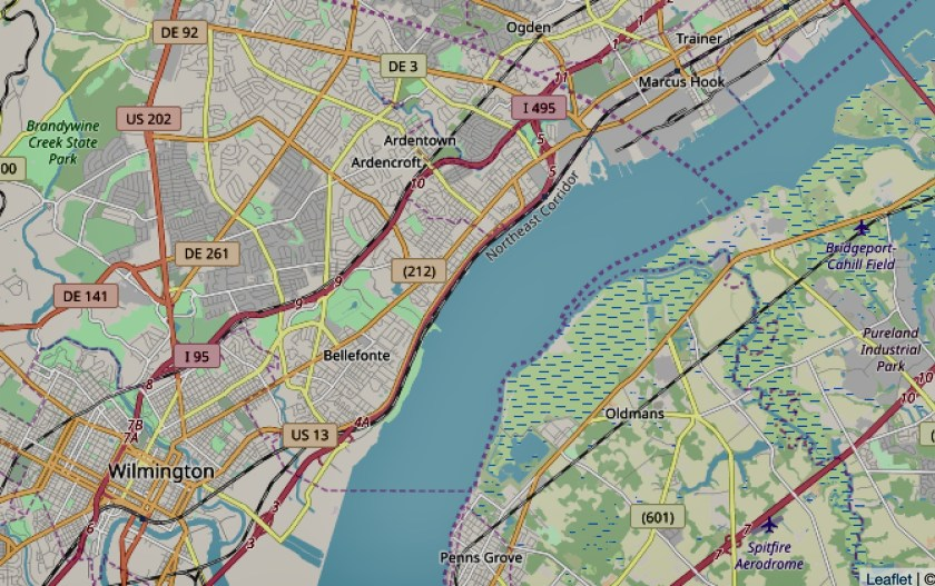 Map of Wilmington DE ans area showing section of Northeast Corridor Rail Line beside the DelawRe River