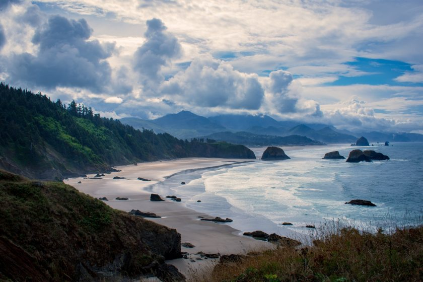 Photo of Oregon coastal mountains and beach