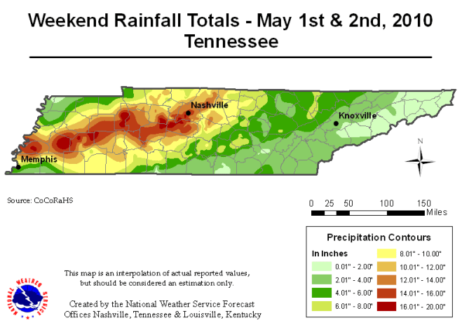 Map of Tennessee showing rainfall distribution May 1 & 2, 2010