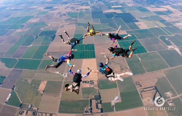 7 people skydiving in California