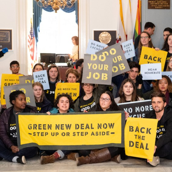 Activists stage sit-in for Green New Deal
