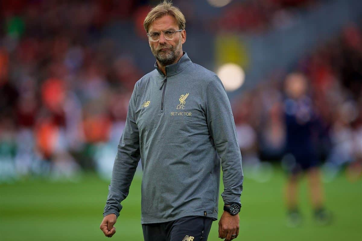 LIVERPOOL, ENGLAND - Tuesday, August 7, 2018: Liverpool's manager Jürgen Klopp watches the pre-match warm-up before the preseason friendly match between Liverpool FC and Torino FC at Anfield. (Pic by David Rawcliffe/Propaganda)
