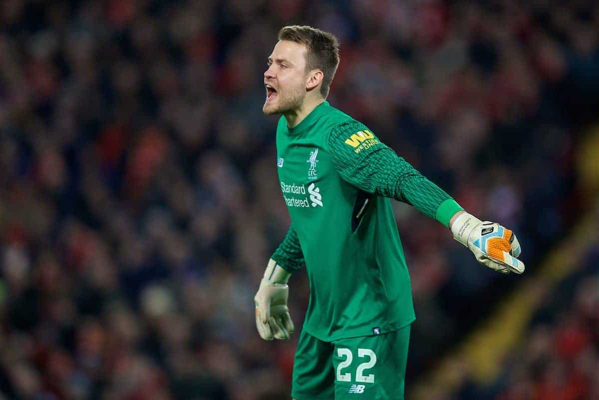 LIVERPOOL, ENGLAND - Sunday, January 14, 2018: Liverpool's goalkeeper Simon Mignolet during the FA Premier League match between Liverpool and Manchester City at Anfield. (Pic by David Rawcliffe/Propaganda)