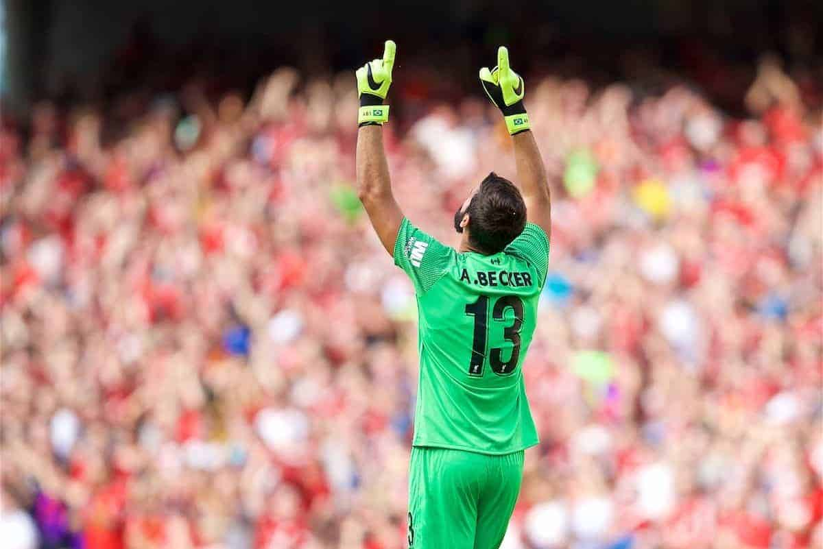 DUBLIN, REPUBLIC OF IRELAND - Saturday, August 4, 2018: Liverpool's new signing goalkeeper Alisson Becker celebrates the first goal during the preseason friendly match between SSC Napoli and Liverpool FC at Landsdowne Road. (Pic by David Rawcliffe/Propaganda)