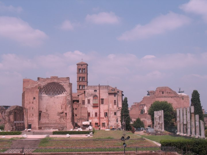 Ruins on Palatine hill, one of several hills of Rome surrounding the Colosseum
