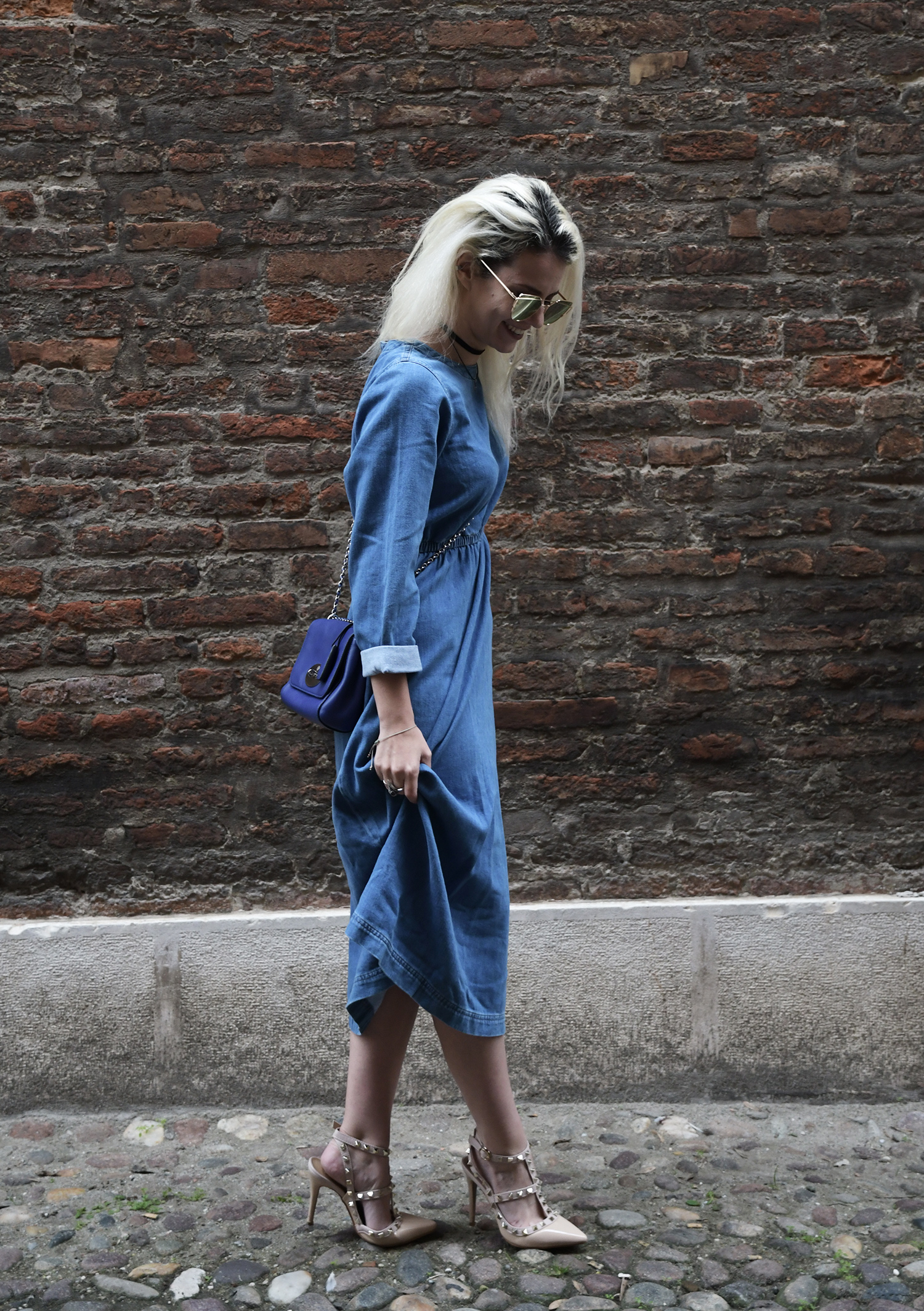 Denim Midi Dress with Valentino's Rockstud Dupes