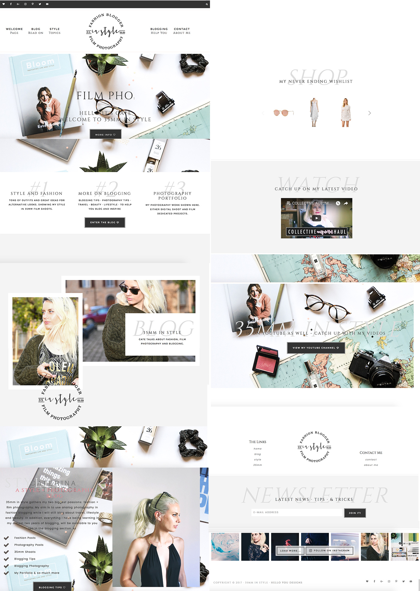 35mm in style blog layout and graphic