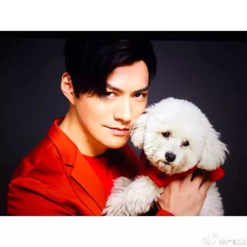 Yan Yikuan with puppy