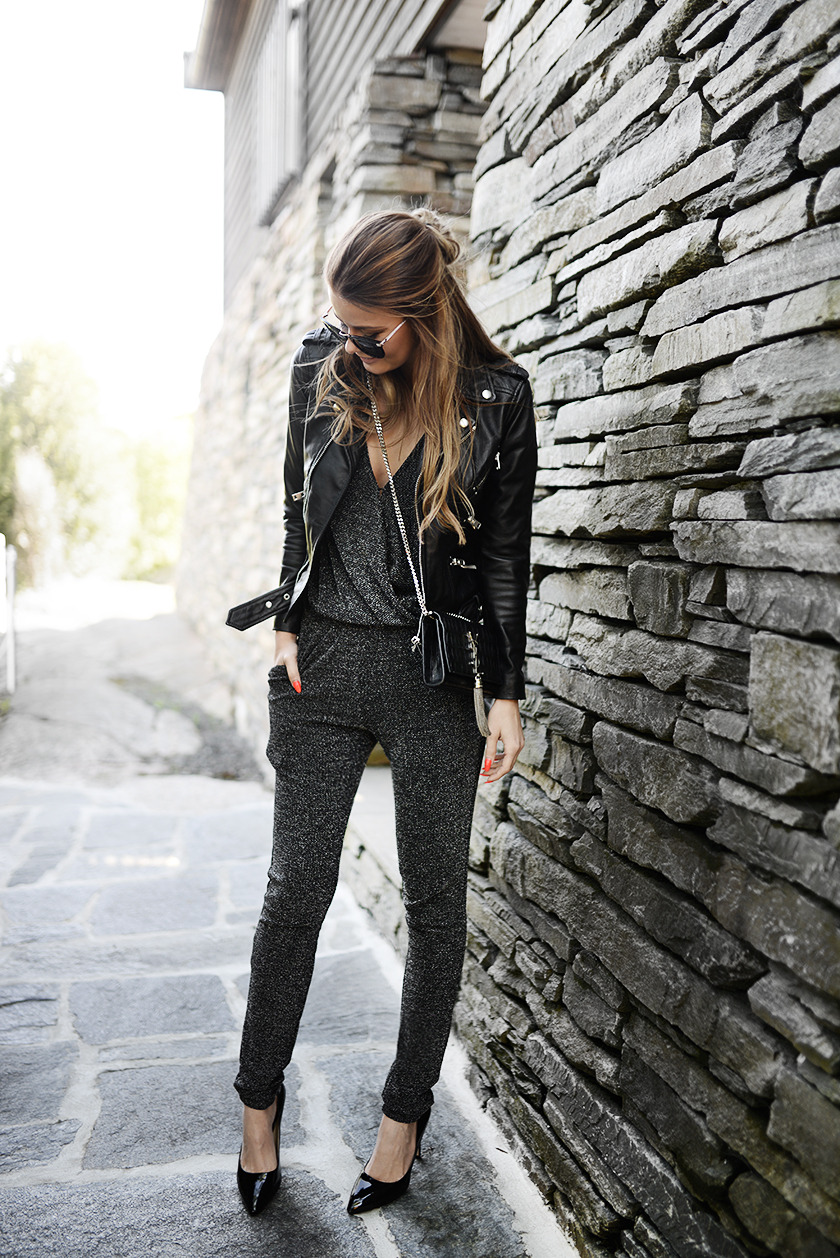 Cute Spring Outfit: A great grey and black combo ViaAnnette HagaJumpsuit: Second Female, Jacket: The Kooples, Bag: YSL, Shoes: Aldo, Sunglasses: ZeroUV