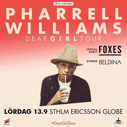 Only one man can bring me home early and that is @Pharrell 😁😊 #Happy and honored to be the #OpeningAct for him! Stockholm, I will see you on Saturday 🙏