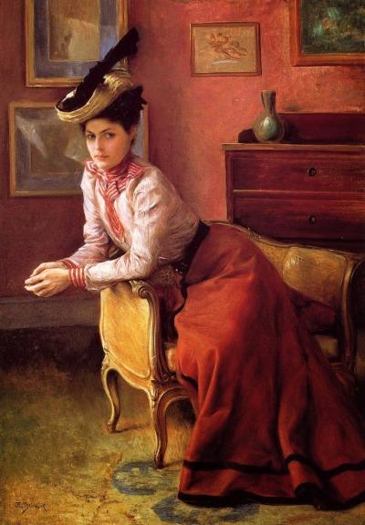 Julius LEBLANC STEWART Élégante Au Sofa 1895