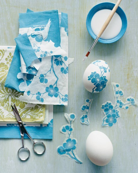 DIY decoupage eggs for Easter <br /><br /><br /><br /><br /><br /><br /> Need: hard boiled eggs (cold), pretty fabric, glue (craft glue)<br /><br /><br /><br /><br /><br /><br /> 1. Cute out shapes you like from fabric<br /><br /><br /><br /><br /><br /><br /> 2. Carefully paint a thin layer of glue and press fabric down on glue - paint another thin layer on top (make sure there are no bubbles in glue)<br /><br /><br /><br /><br /><br /><br /> 3. Dry and if you want a glossy look add another layer of glue otherwise display in pretty dish for company.<br /><br /><br /><br /><br /><br /><br /> Eggs will spoil - so only sit out on table when ready to eat.<br /><br /><br /><br /><br /><br /><br /> Decoupage (or découpage) is the art of decorating an object by gluing colored paper cutouts onto it in combination with special paint effects,gold leaf and so on