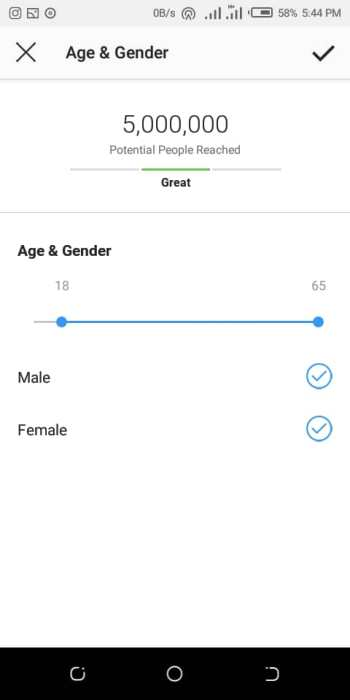 Instagram ads age and gender settings