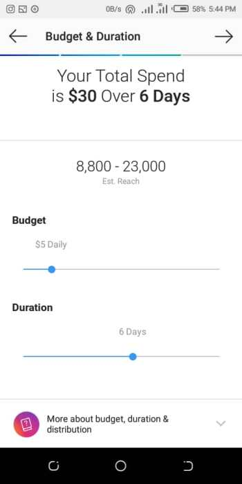 Instagram ads budget and duration settings