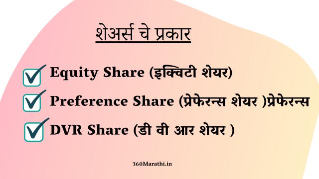 शेअर्स चे प्रकार   Types Of Shares in Marathi