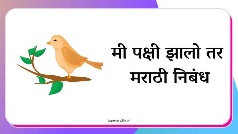 (२ निबंध) मी पक्षी झालो तर मराठी निबंध | Mi Pakshi zalo Tar Nibandh