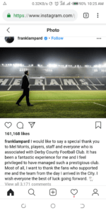 Frank Lampard Instagram post shot by 360mediaNG