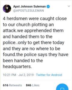 Apostle Johnson Suleman tweets on Herdsmen
