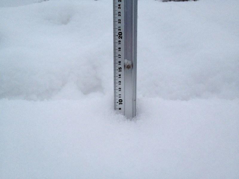 Snow fall depth in Hirafu Village, 14 January 2013