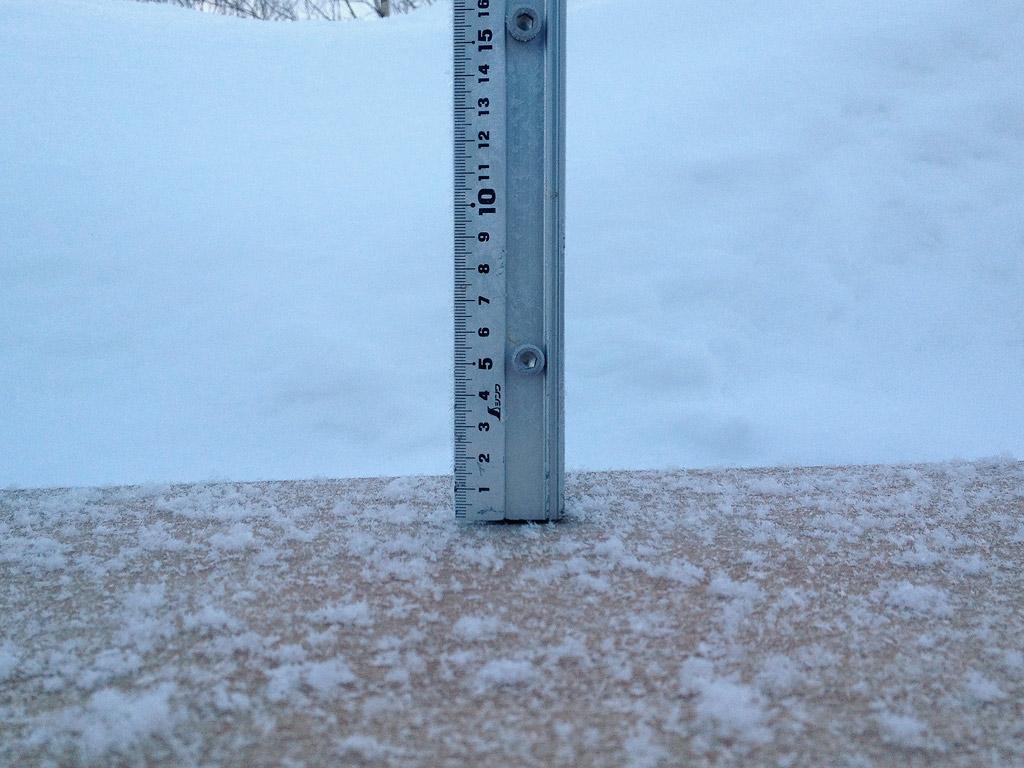 Snow fall depth in Hirafu Village, 23 January 2013