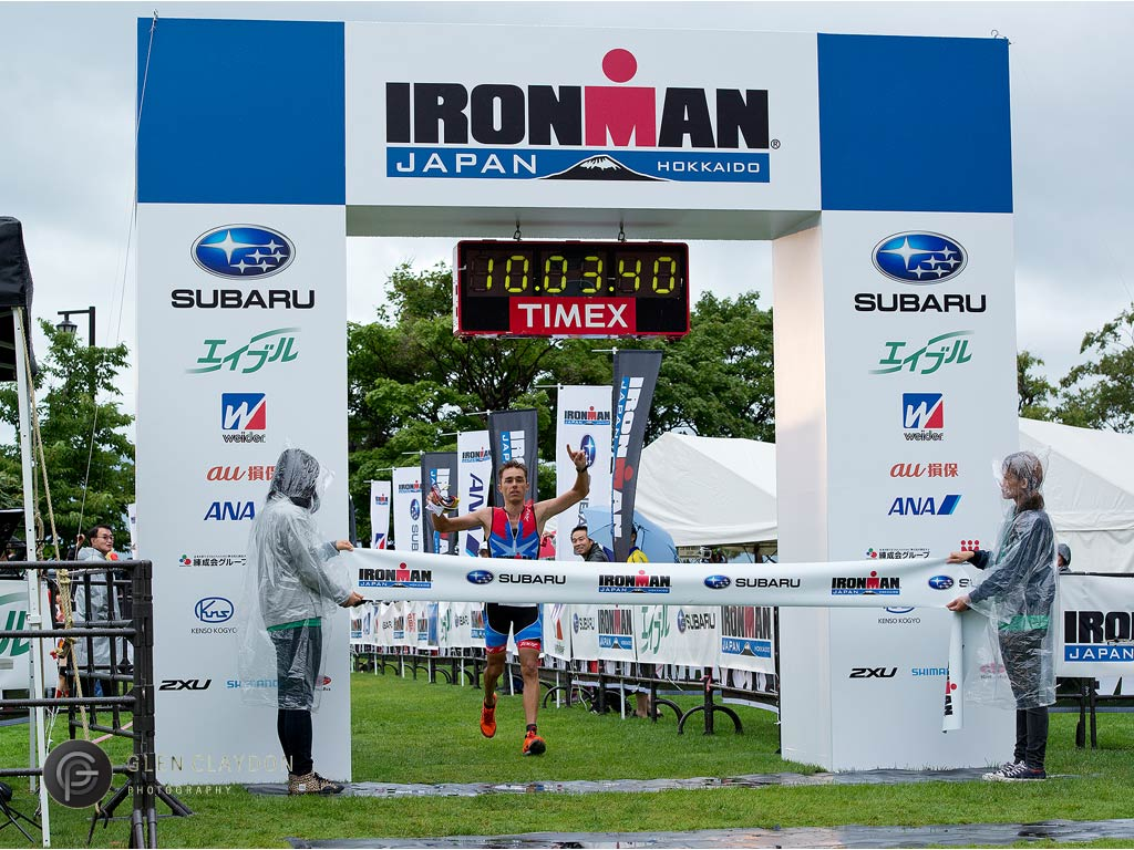 Ryan crosses the finish line, 31 August 2013