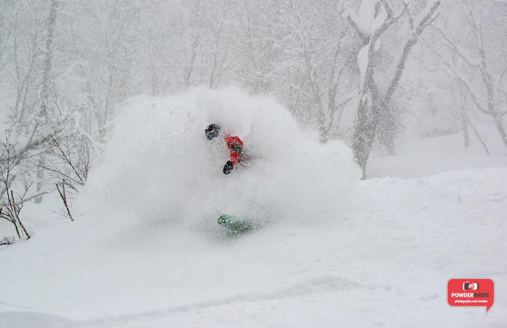 Matt exploding out of the waist deep powder in Hanazono, 5 January 2014