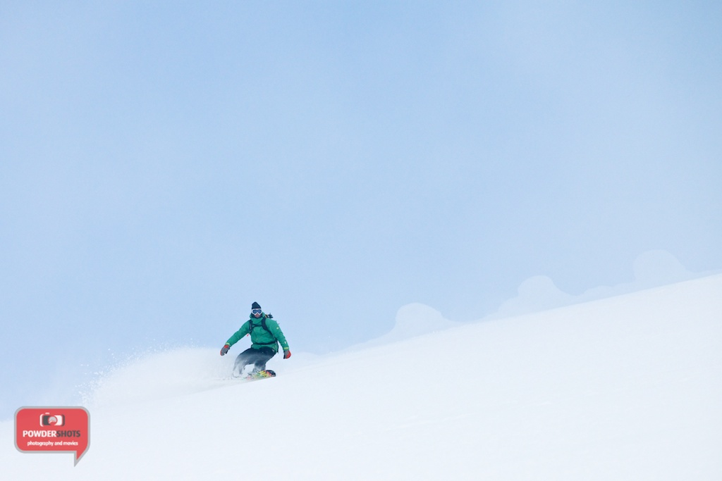 Sam from Niseko Xtreme snowboarding just below the icy lumps at the summit