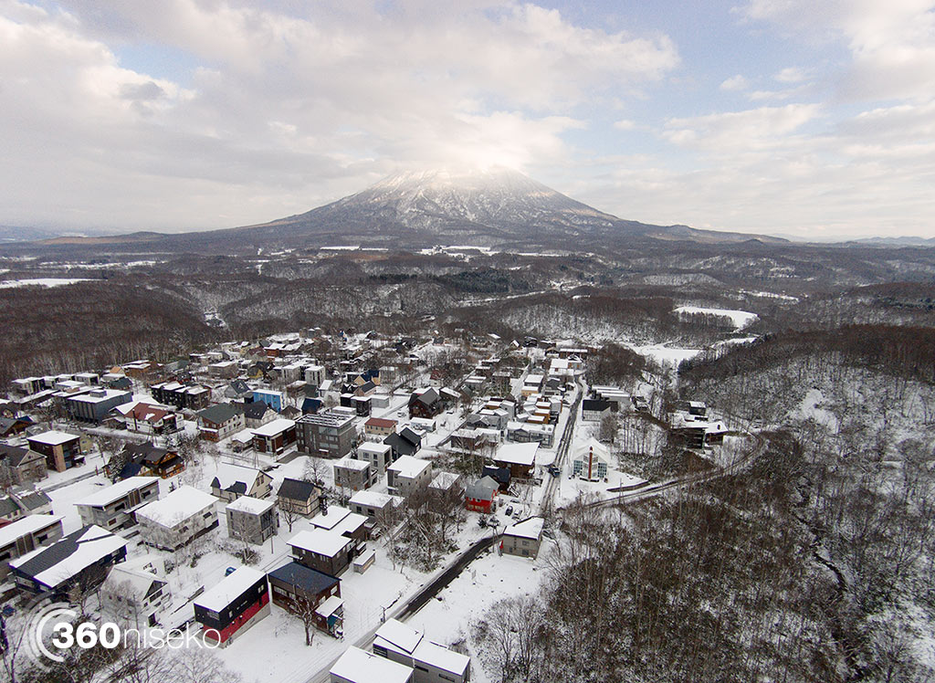 Middle and lower Hirafu Village with Mt.Yotei, 17 November 2014