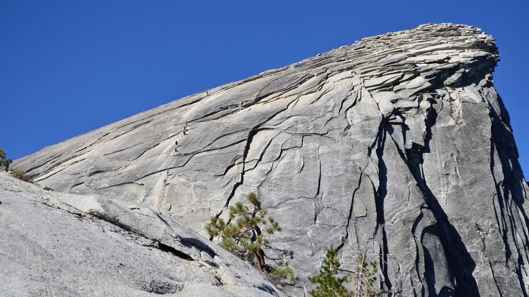 Closer view of the cables on Half Dome.